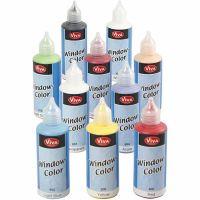 Viva decoración Color de ventana, surtido de colores, 10x80 ml/ 1 paquete