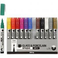 Rotulador porcelana y cristal, trazo ancho 1-2 mm, semi opaco, surtido de colores, 12 ud/ 1 paquete