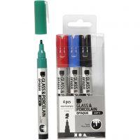 Rotulador porcelana y cristal, trazo ancho 1-2 mm, semi opaco, negro, azul, verde, rojo, 4 ud/ 1 paquete