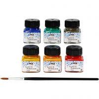 Pintura de cristal y porcelana, surtido de colores, 6x20 ml/ 1 paquete
