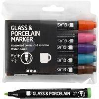 Rotulador porcelana y cristal, trazo ancho 1-3 mm, semi opaco, colores adicionales, 6 ud/ 1 paquete