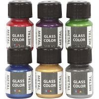 Glass Color Metal, surtido de colores, 6x30 ml/ 1 paquete