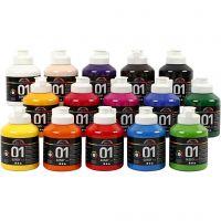 Pintura acrílica A-Color, glossy, surtido de colores, 15x500 ml/ 1 caja
