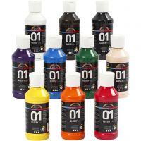 Pintura acrílica A-Color, glossy, surtido de colores, 10x100 ml/ 1 paquete