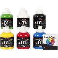 Pintura acrílica A-Color, glossy, colores primario, 6x500 ml/ 1 paquete