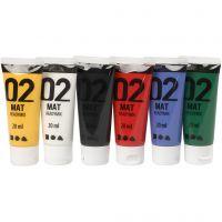 Pintura A-Color Ready Mix Paint, mate, colores estándar, 6x20 ml/ 1 paquete