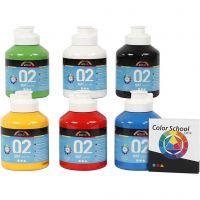 Pintura A-Color Ready Mix Paint, mate, colores primario, 6x500 ml/ 1 paquete