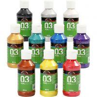 Pintura Acrílica A-Color , Metálica, surtido de colores, 10x120 ml/ 1 paquete