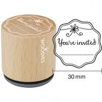 """Sello de madera, """"You're invited"""", A: 35 mm, dia: 30 mm, 1 ud"""