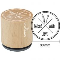 """Sello de madera, """"baked with LOVE"""", A: 35 mm, dia: 30 mm, 1 ud"""