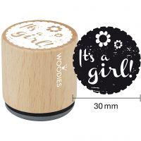"""Sello de madera, """"I'ts a girl"""", A: 35 mm, dia: 30 mm, 1 ud"""