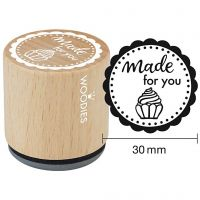 Sello de madera, Made for you, A: 35 mm, dia: 30 mm, 1 ud
