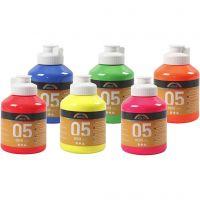 Pintura Acrilica A-Color, colores neón, 6x500 ml/ 1 caja