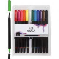 Marcador de acuarela, trazo ancho 2+4-8 mm, colores estándar, 12 ud/ 1 paquete