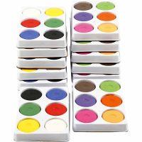 Acuarelas, A: 19 mm, dia: 57 mm, rojo primario, colores adicionales, 12 bandeja/ 1 paquete