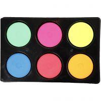 Acuarelas, A: 16 mm, dia: 44 mm, colores neón, 1 set