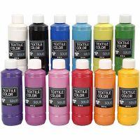 Textile Solid , opaco, surtido de colores, 12x250 ml/ 1 paquete
