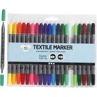 Rotuladores de tela, trazo ancho 2,3+3,6 mm, colores estándar, 20 ud/ 1 paquete