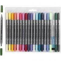 Rotuladores de tela, trazo ancho 2,3+3,6 mm, colores adicionales, 20 ud/ 1 paquete