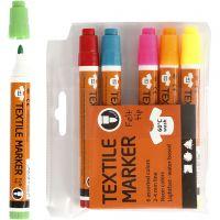 Rotuladores de tela, trazo ancho 2-4 mm, colores neón, 6 ud/ 1 paquete