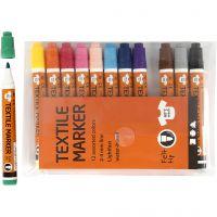 Rotuladores de tela, trazo ancho 2-4 mm, surtido de colores, 12 ud/ 1 paquete