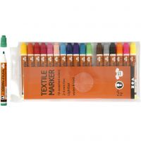 Rotuladores de tela, trazo ancho 2-4 mm, surtido de colores, 18 ud/ 1 paquete