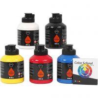 Pintura Pigment Art School, colores primario, 5x500 ml/ 1 paquete