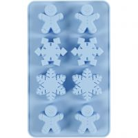 Molde de silicona, Cristal de hielo y galleta, A: 2,5 cm, L. 24 cm, A: 14 cm, medida agujero 30x45 mm, 12,5 ml, 1 ud/ 1 paquete
