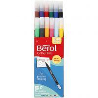 Berol Colourfine, dia: 10 mm, trazo ancho 0,3-0,7 mm, surtido de colores, 12 ud/ 1 paquete