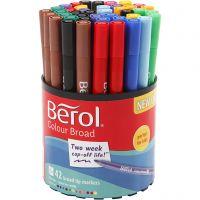 Berol Colourfine, dia: 10 mm, trazo ancho 0,3-0,7 mm, surtido de colores, 42 ud/ 1 bote