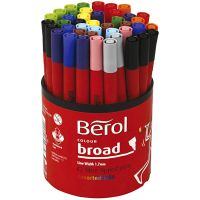 Marcador Berol, dia: 10 mm, trazo ancho 1-1,7 mm, surtido de colores, 42 ud/ 1 bote