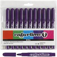 Colortime rotuladores, trazo ancho 5 mm, morado, 12 ud/ 1 paquete