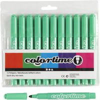 Colortime rotuladores, trazo ancho 5 mm, verde claro, 12 ud/ 1 paquete