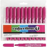 Colortime rotuladores, trazo ancho 5 mm, rosado, 12 ud/ 1 paquete