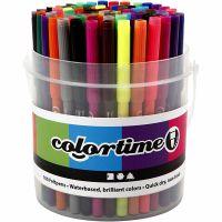 Colortime rotuladores, trazo ancho 2 mm, surtido de colores, 100 ud/ 1 cubo