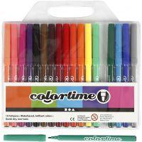 Colortime rotuladores, trazo ancho 2 mm, surtido de colores, 18 ud/ 1 paquete