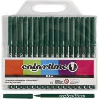 Colortime rotuladores, trazo ancho 2 mm, verde oscuro, 18 ud/ 1 paquete