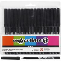 Colortime rotuladores, trazo ancho 2 mm, negro, 18 ud/ 1 paquete