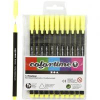 Colortime Fineliner , trazo ancho 0,6-0,7 mm, amarillo, 12 ud/ 1 paquete