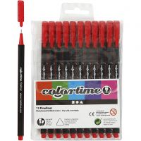 Colortime Fineliner , trazo ancho 0,6-0,7 mm, rojo, 12 ud/ 1 paquete