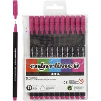 Colortime Fineliner , trazo ancho 0,6-0,7 mm, ciclamen, 12 ud/ 1 paquete