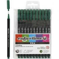 Colortime Fineliner , trazo ancho 0,6-0,7 mm, verde oscuro, 12 ud/ 1 paquete