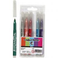 Colortime Rotuladores de purpurina, trazo ancho 2 mm, surtido de colores, 6 ud/ 1 paquete
