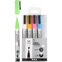 Rotuladores de tiza, trazo ancho 1,2-3 mm, colores fuertes, 5 ud/ 1 paquete