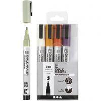 Rotuladores de tiza, trazo ancho 1,2-3 mm, colores douché, 5 ud/ 1 paquete
