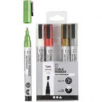 Rotuladores de tiza, trazo ancho 1,2-3 mm, colores metálicos, 5 ud/ 1 paquete