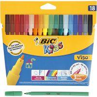 Rotuladores Visa Fine, trazo ancho 1,6 mm, surtido de colores, 18 ud/ 1 paquete
