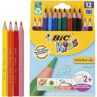 Lápices de colores Evolution , L. 14 cm, mina 5 mm, surtido de colores, 12 ud/ 1 paquete