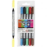Rotuladores dobles Colortime, trazo ancho 2,3+3,6 mm, colores estándar, 6 ud/ 1 paquete