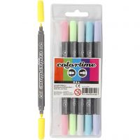 Rotuladores dobles Colortime, trazo ancho 2,3+3,6 mm, colores pastel, 6 ud/ 1 paquete